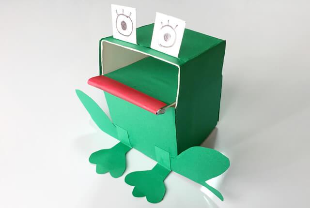 牛乳パック貯金箱が完成「カエル」