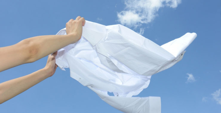洗い上がりのワイシャツ